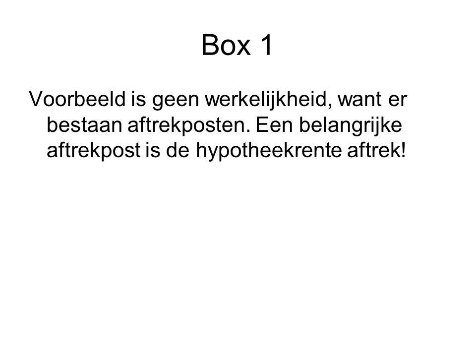 Box 1 Voorbeeld is geen werkelijkheid, want er bestaan aftrekposten.