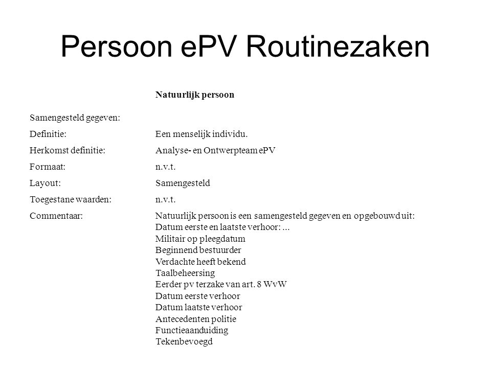 Persoon ePV Routinezaken