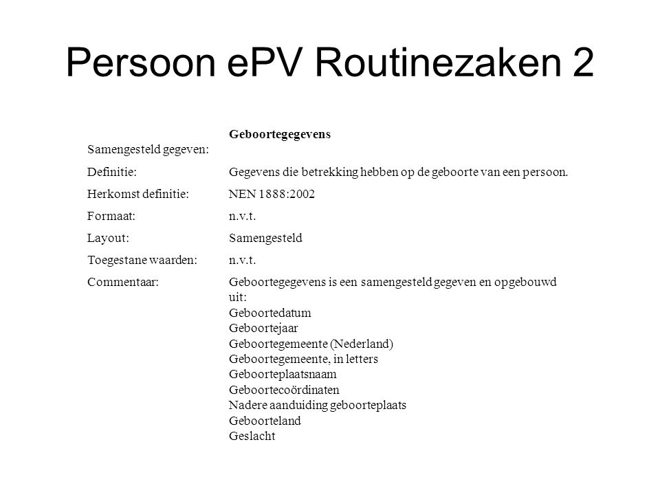 Persoon ePV Routinezaken 2