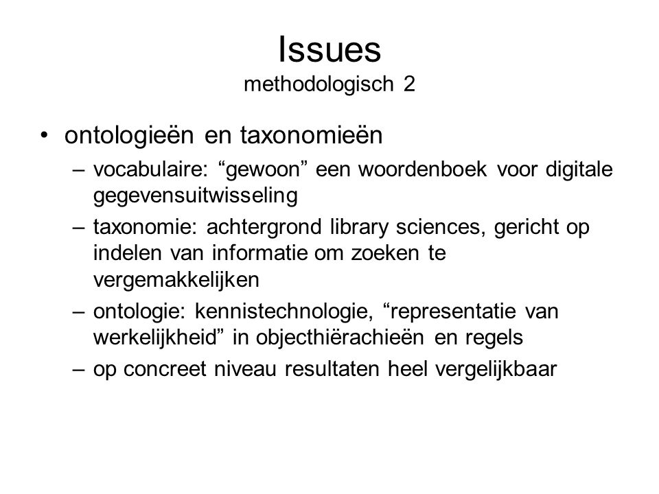 Issues methodologisch 2