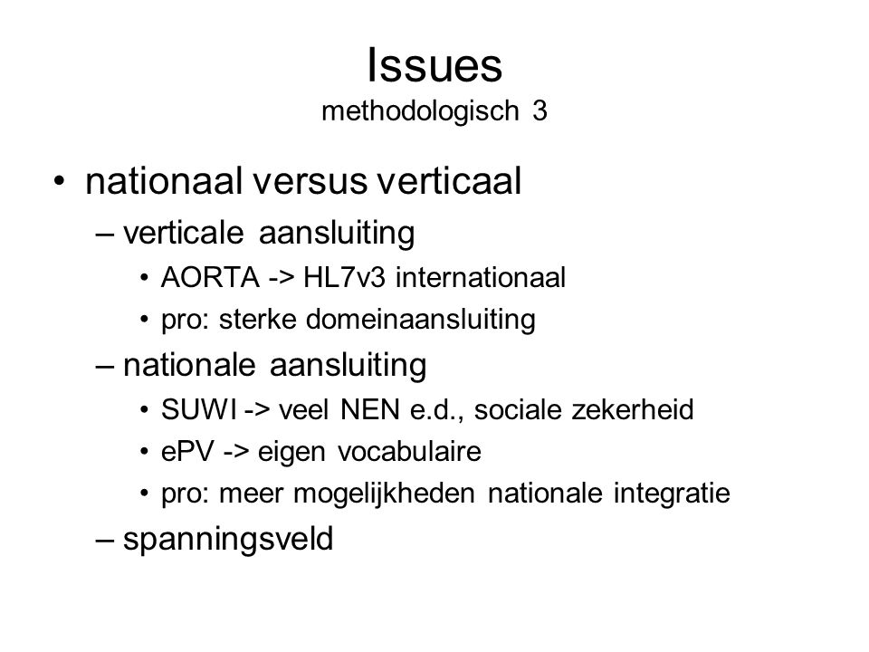 Issues methodologisch 3