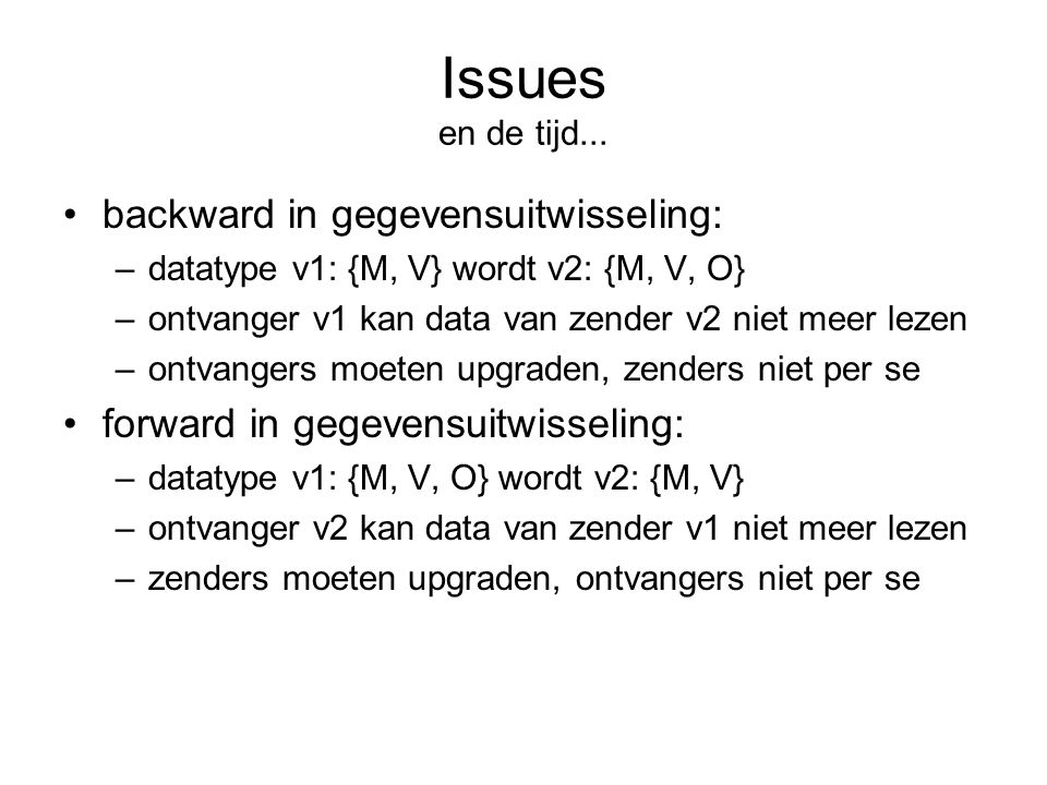 Issues en de tijd... backward in gegevensuitwisseling: