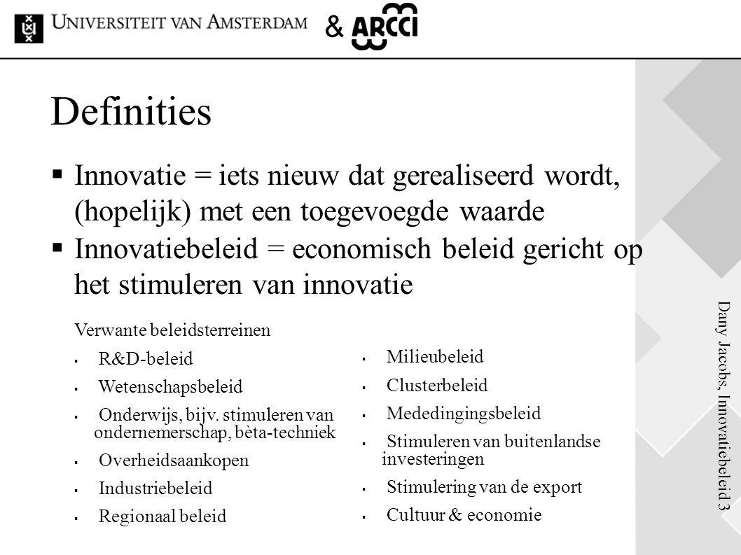 Definities Innovatie = iets nieuw dat gerealiseerd wordt, (hopelijk) met een toegevoegde waarde.