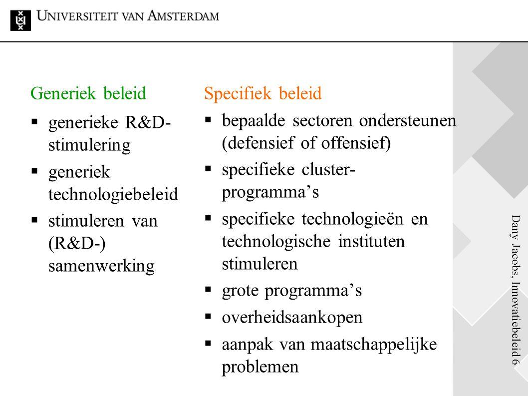 Generiek beleid generieke R&D-stimulering. generiek technologiebeleid. stimuleren van (R&D-) samenwerking.