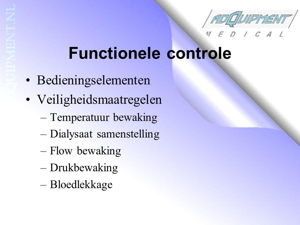 Functionele controle Bedieningselementen Veiligheidsmaatregelen