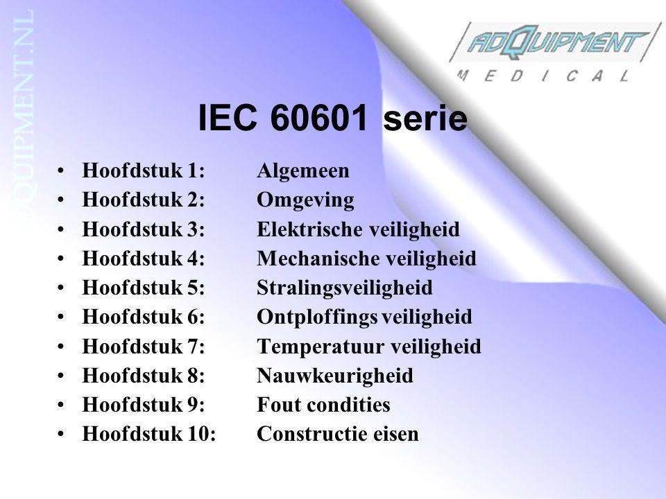 IEC 60601 serie Hoofdstuk 1: Algemeen Hoofdstuk 2: Omgeving