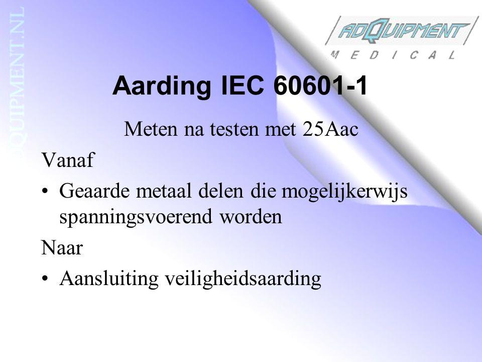 Aarding IEC 60601-1 Meten na testen met 25Aac Vanaf