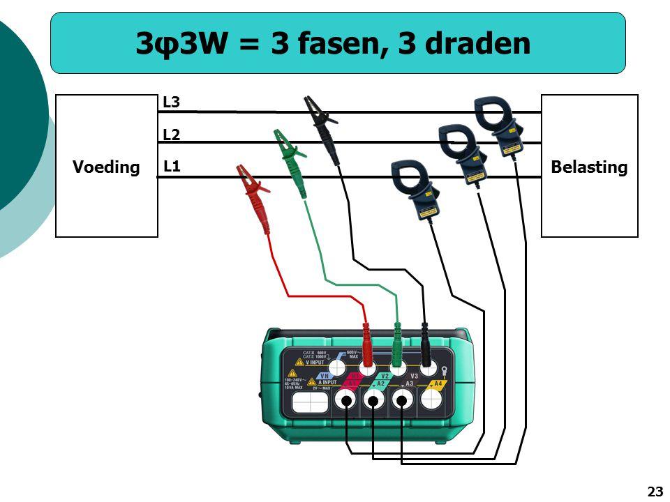 3φ3W = 3 fasen, 3 draden L3 Voeding Belasting L2 L1