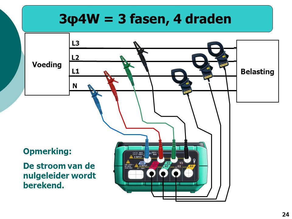 3φ4W = 3 fasen, 4 draden Opmerking: