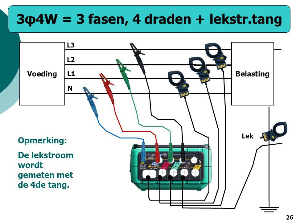 3φ4W = 3 fasen, 4 draden + lekstr.tang