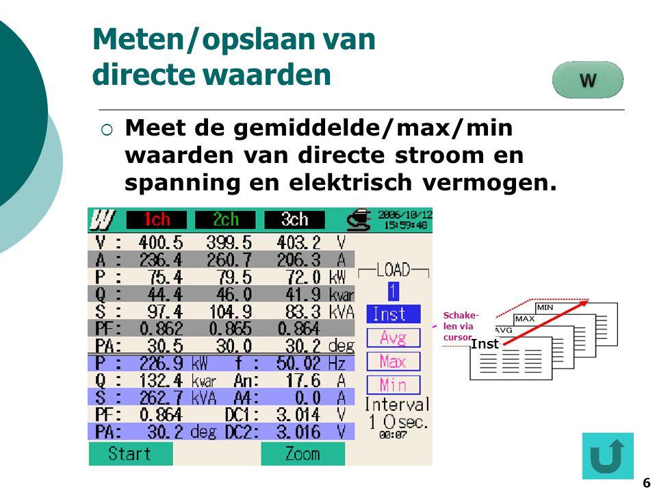 Meten/opslaan van directe waarden