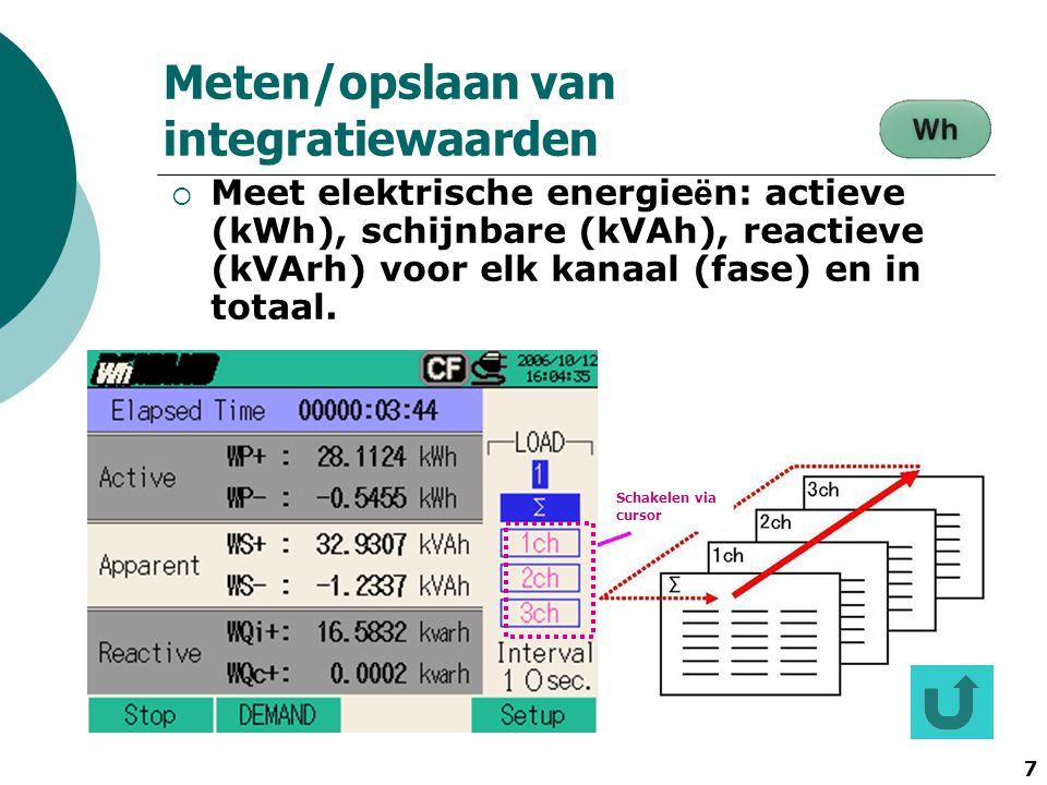 Meten/opslaan van integratiewaarden