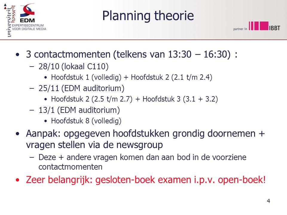 Planning theorie 3 contactmomenten (telkens van 13:30 – 16:30) :