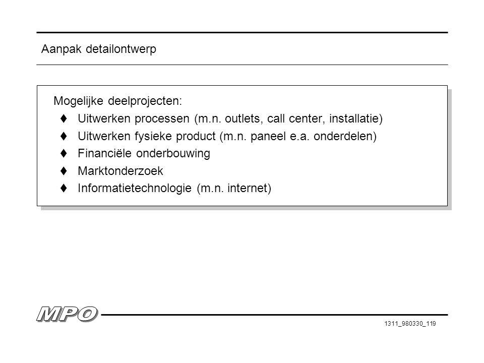 Aanpak detailontwerp Mogelijke deelprojecten: Uitwerken processen (m.n. outlets, call center, installatie)