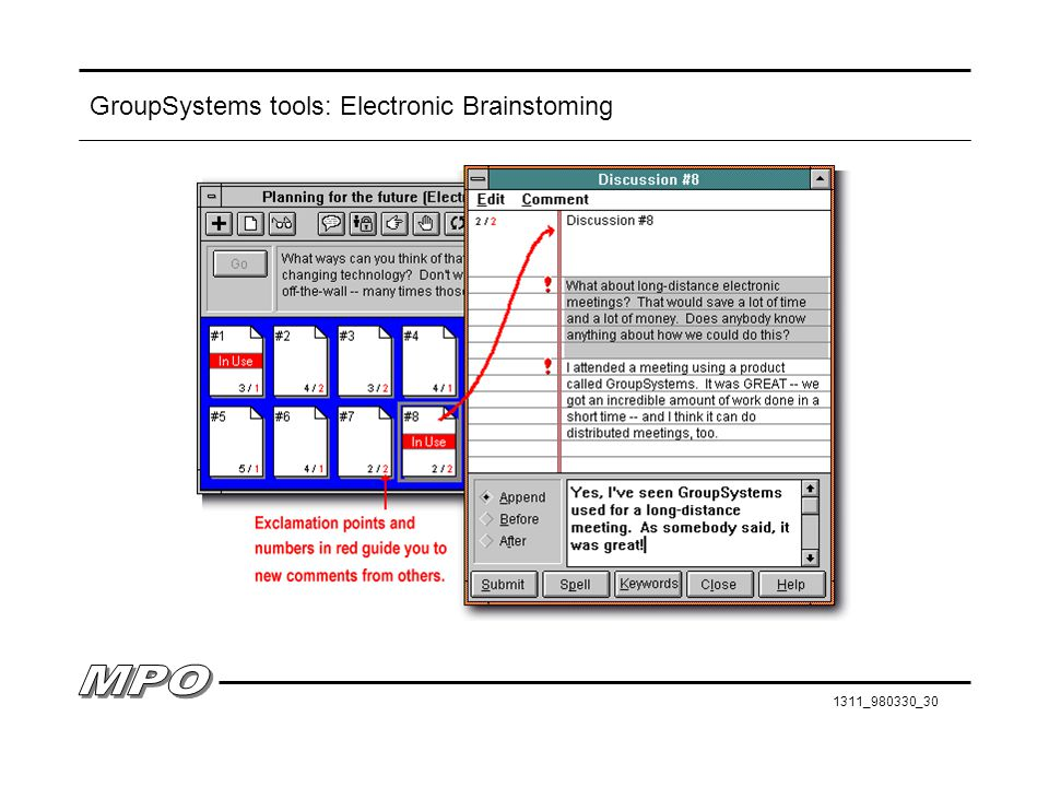 GroupSystems tools: Electronic Brainstoming
