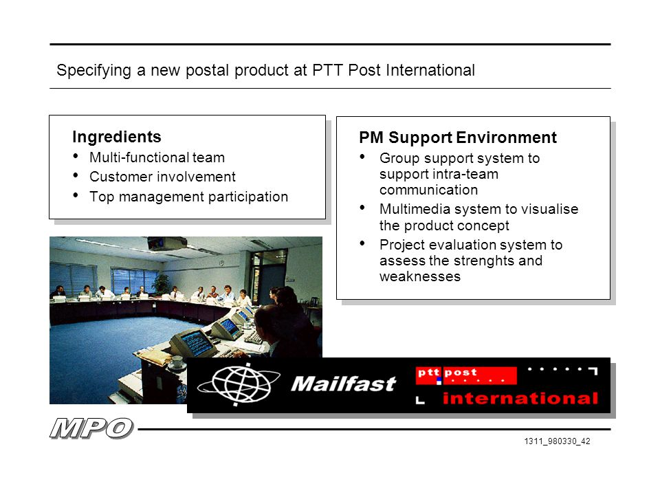 Specifying a new postal product at PTT Post International