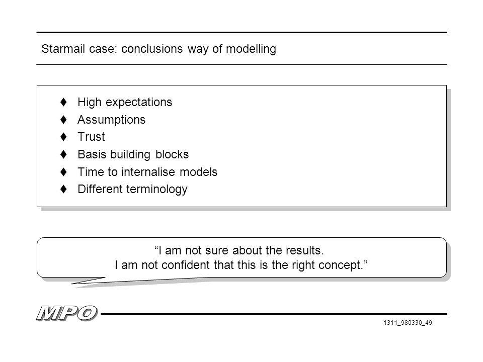 Starmail case: conclusions way of modelling