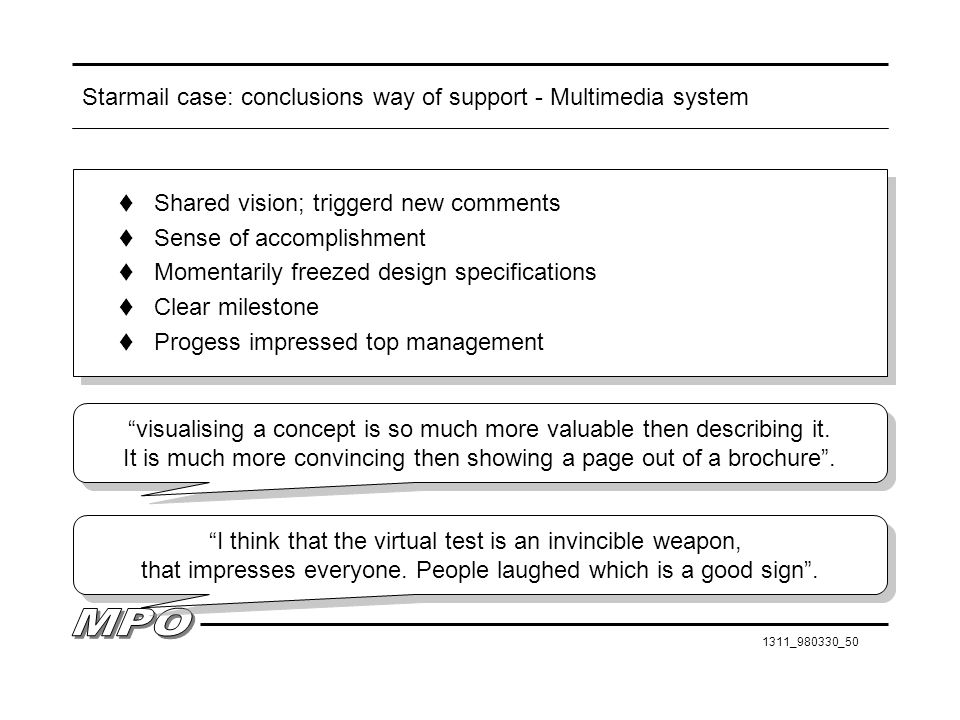 Starmail case: conclusions way of support - Multimedia system