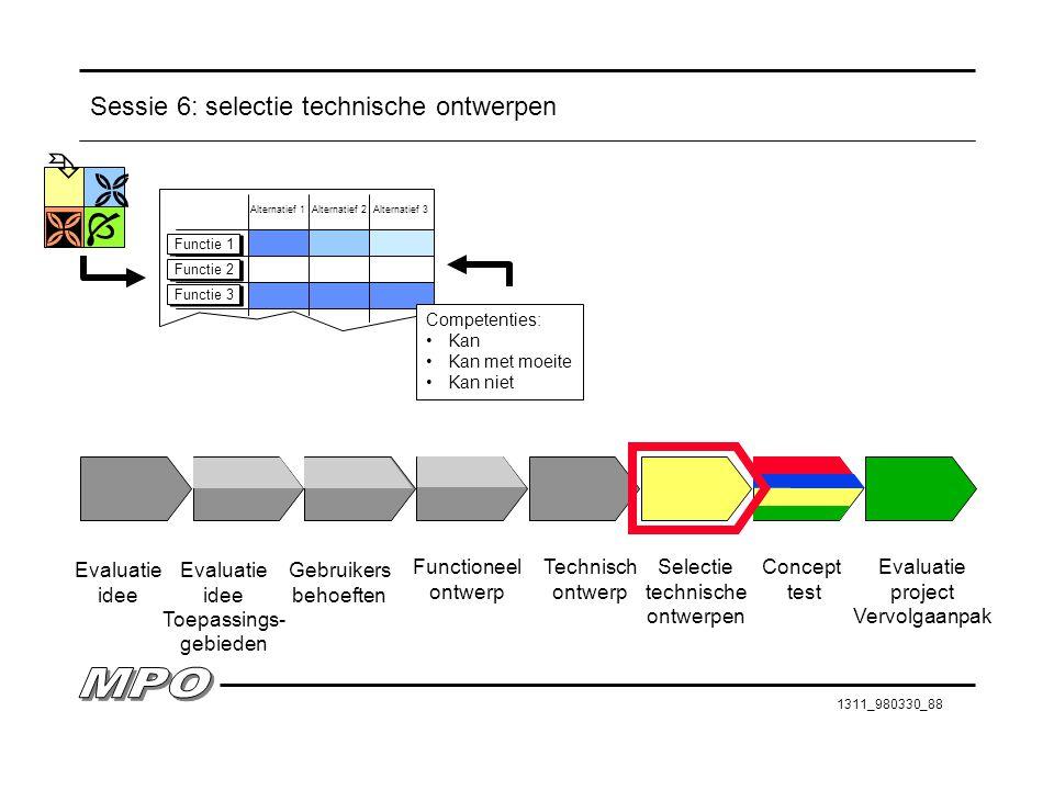 Sessie 6: selectie technische ontwerpen
