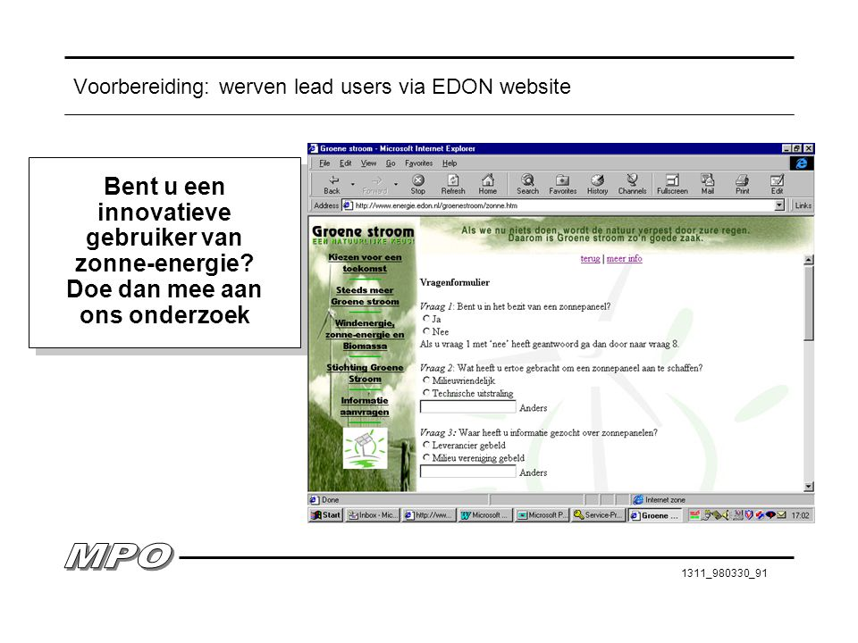 Voorbereiding: werven lead users via EDON website