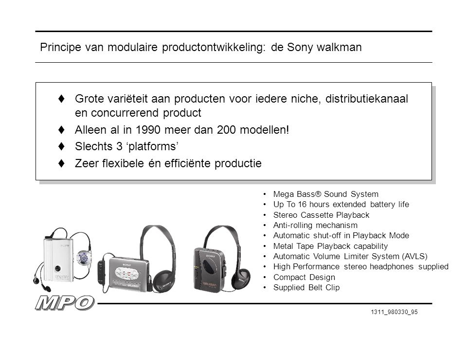 Principe van modulaire productontwikkeling: de Sony walkman