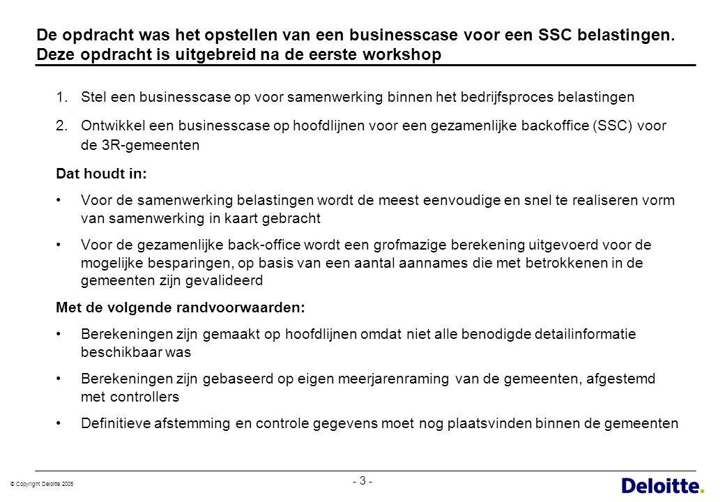 De opdracht was het opstellen van een businesscase voor een SSC belastingen. Deze opdracht is uitgebreid na de eerste workshop