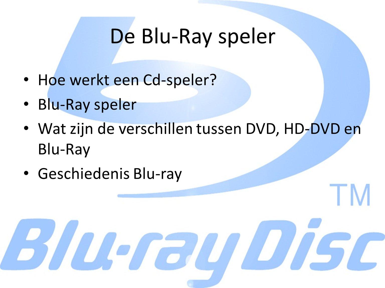 De Blu-Ray speler Hoe werkt een Cd-speler Blu-Ray speler