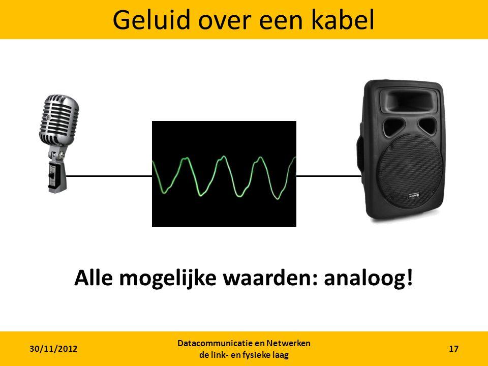 Geluid over een kabel Alle mogelijke waarden: analoog!