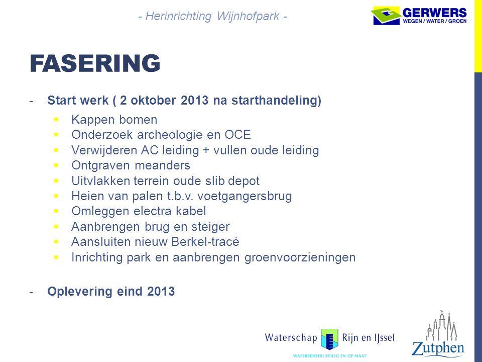 - Herinrichting Wijnhofpark -