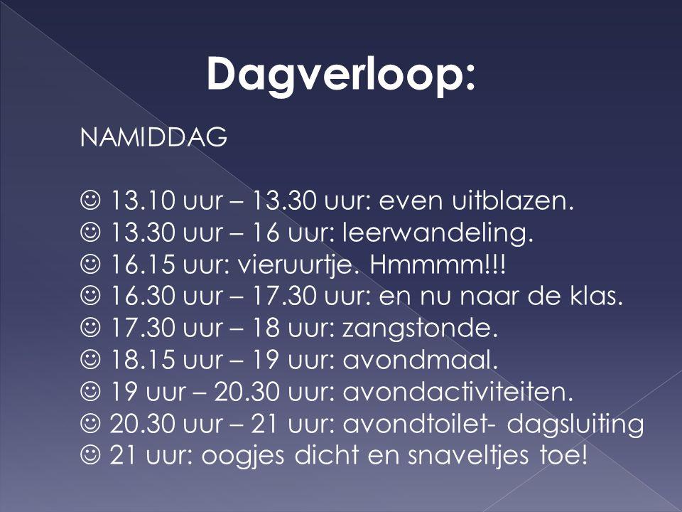 Dagverloop: NAMIDDAG  13.10 uur – 13.30 uur: even uitblazen.
