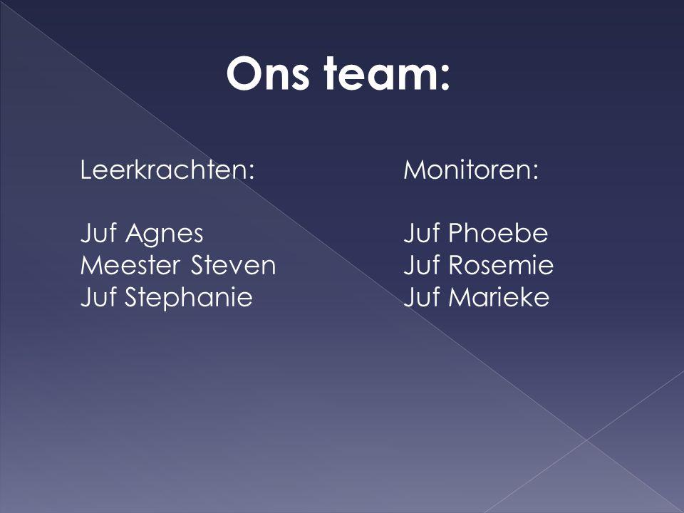 Ons team: Leerkrachten: Juf Agnes Meester Steven Juf Stephanie