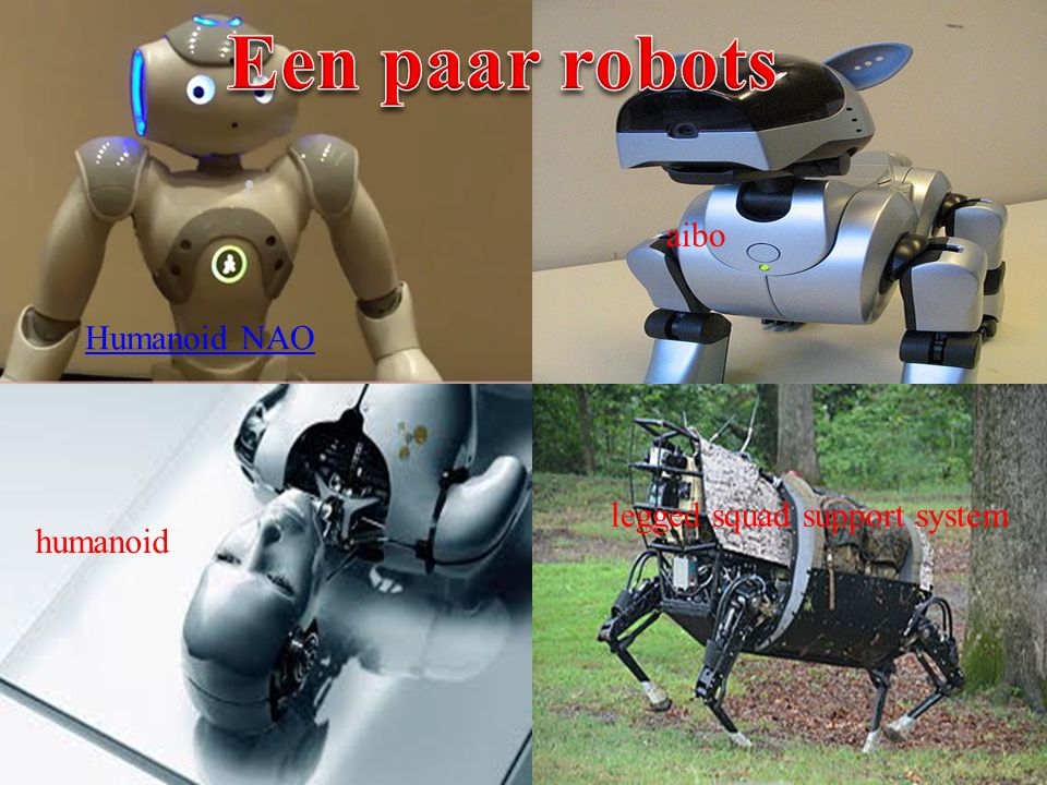 Een paar robots aibo Humanoid NAO legged squad support system humanoid