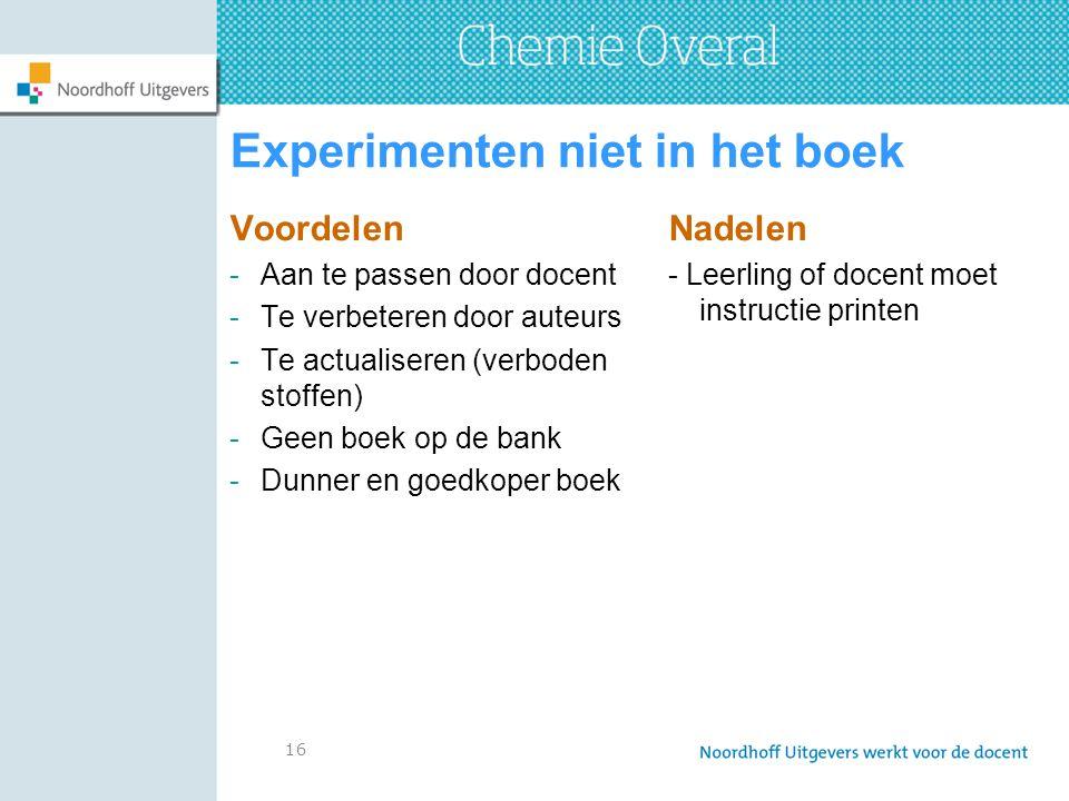 Experimenten niet in het boek