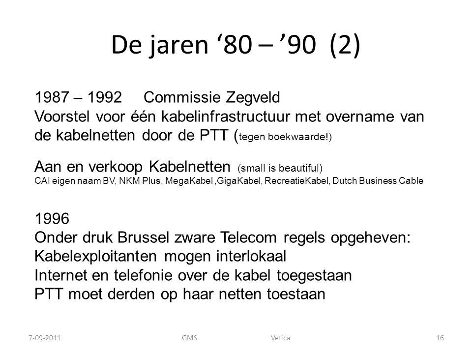 De jaren '80 – '90 (2) 1987 – 1992 Commissie Zegveld