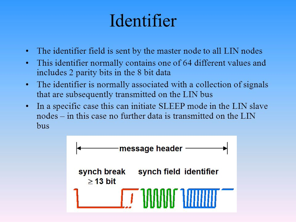 Identifier The identifier field is sent by the master node to all LIN nodes.