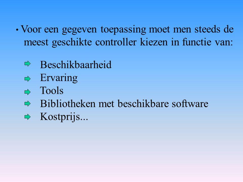 meest geschikte controller kiezen in functie van: