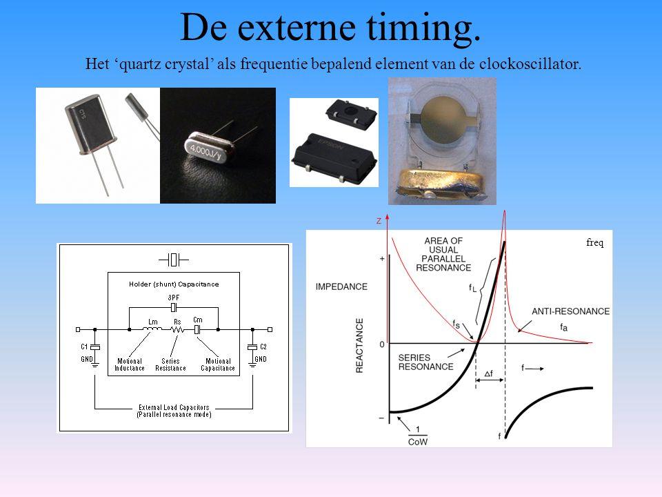 De externe timing. Het 'quartz crystal' als frequentie bepalend element van de clockoscillator.
