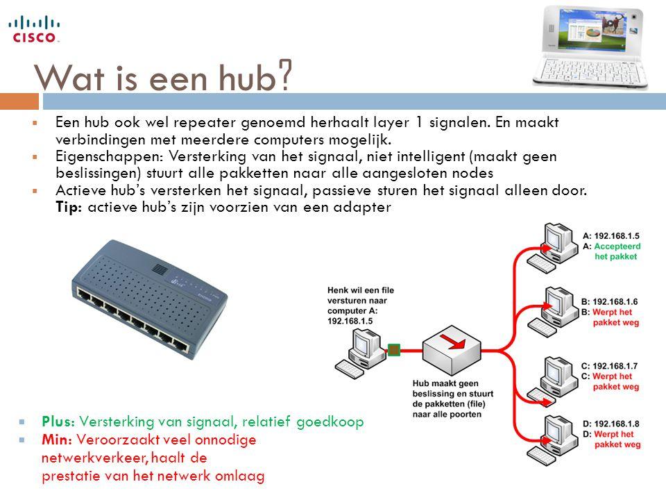 Wat is een hub Een hub ook wel repeater genoemd herhaalt layer 1 signalen. En maakt verbindingen met meerdere computers mogelijk.