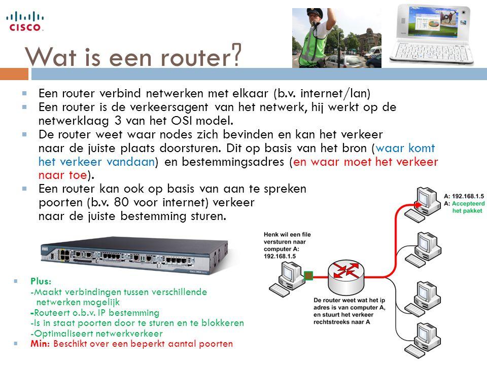 Wat is een router Een router verbind netwerken met elkaar (b.v. internet/lan)