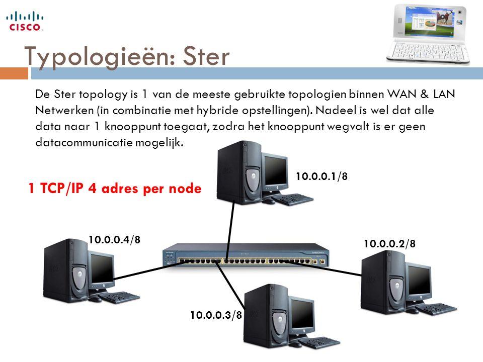 Typologieën: Ster 1 TCP/IP 4 adres per node