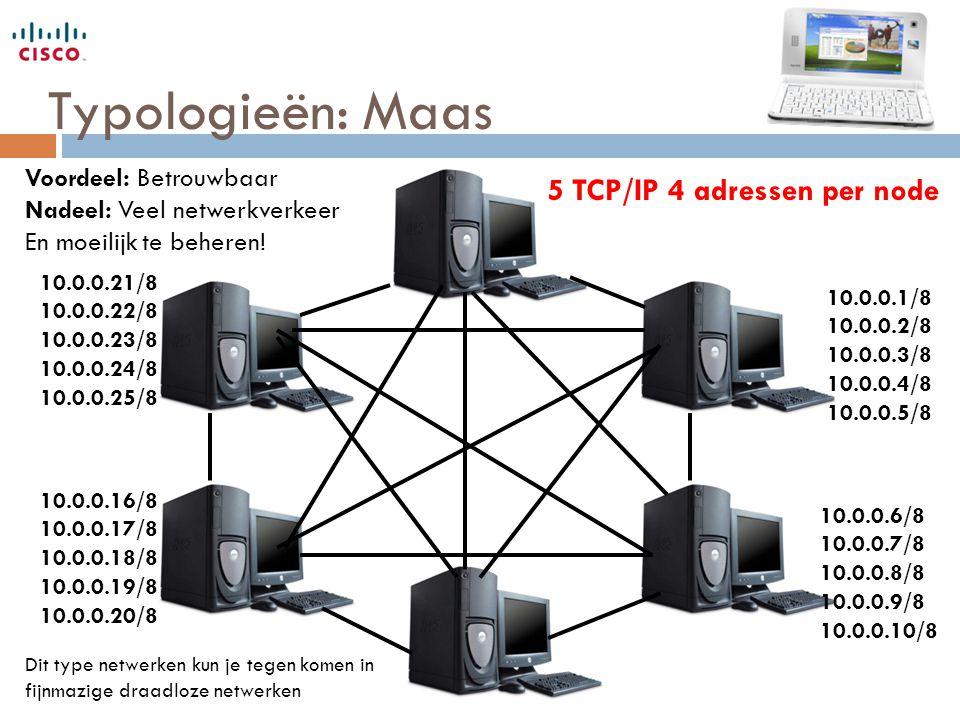 Typologieën: Maas 5 TCP/IP 4 adressen per node Voordeel: Betrouwbaar