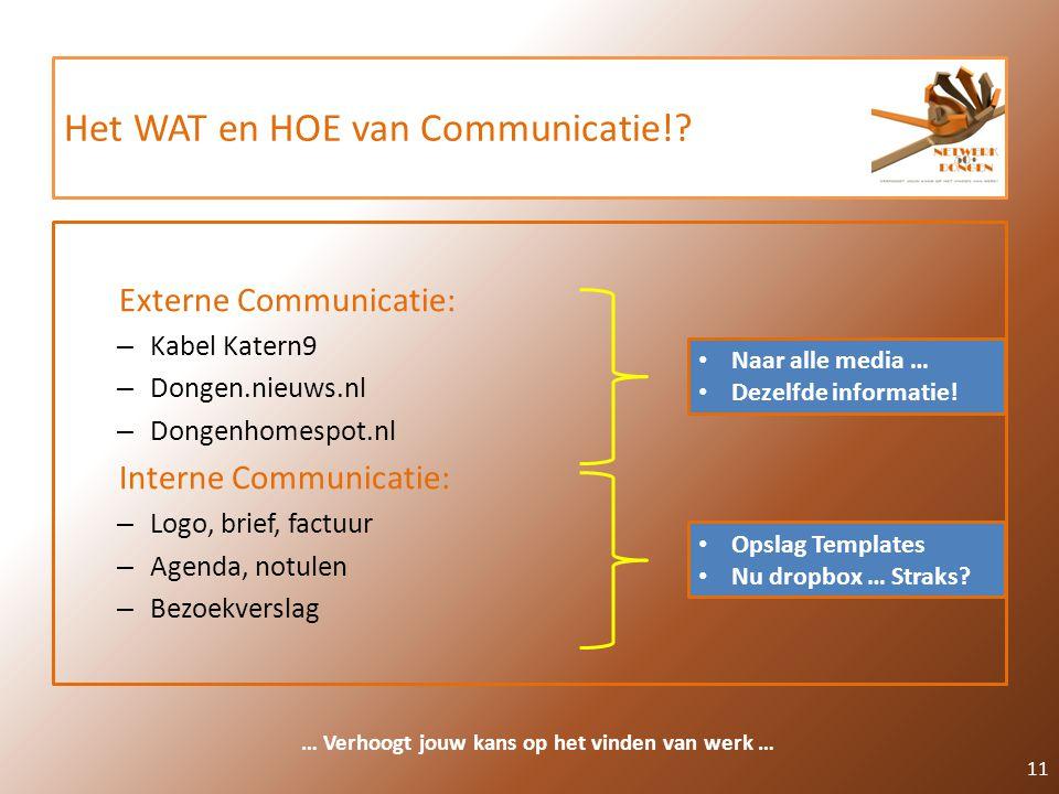 Het WAT en HOE van Communicatie!