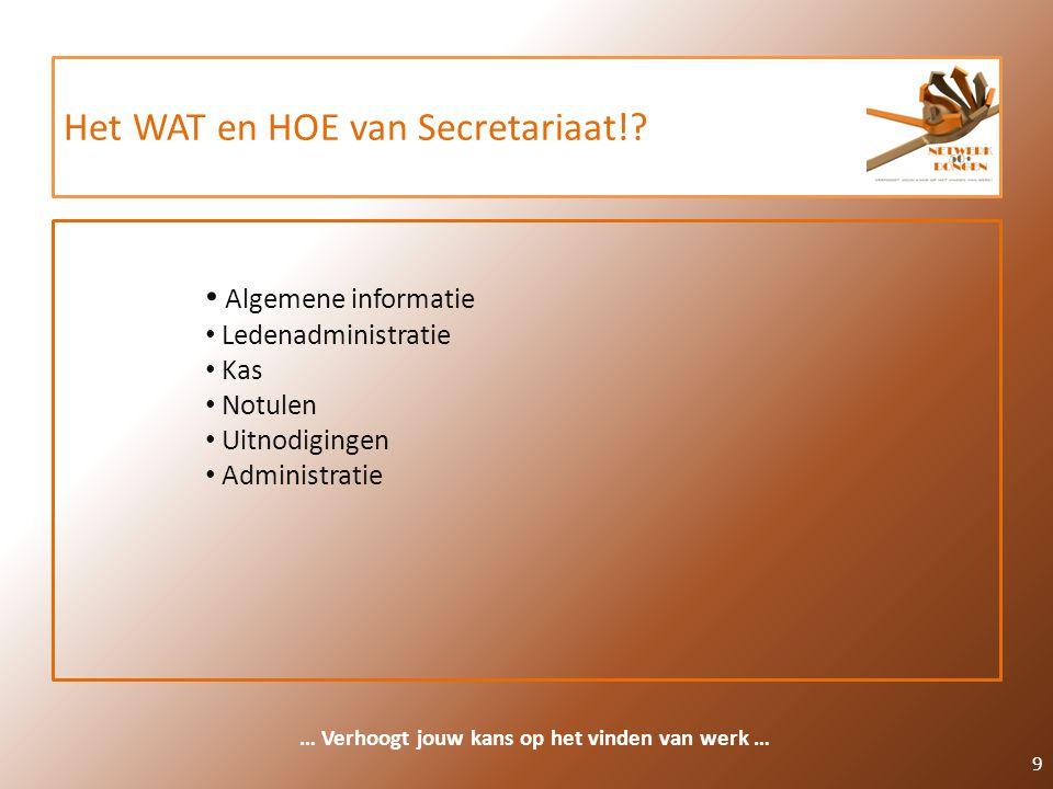 Het WAT en HOE van Secretariaat!