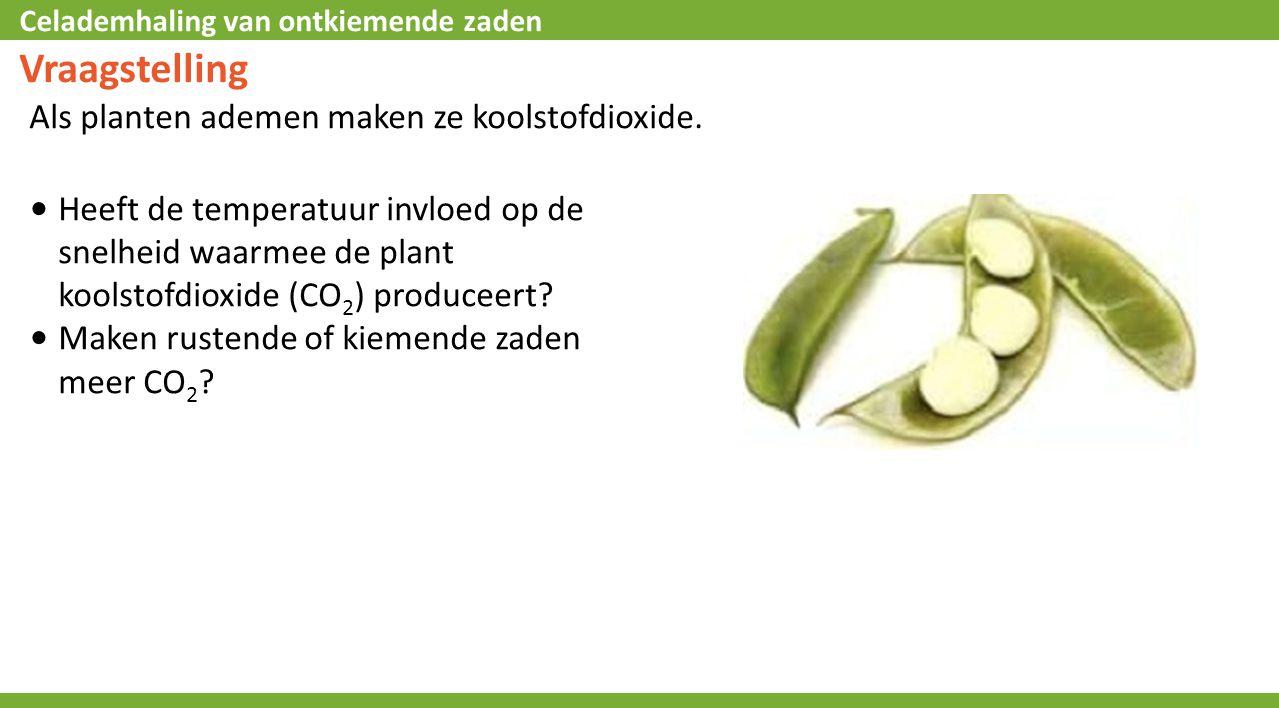 Vraagstelling Als planten ademen maken ze koolstofdioxide.