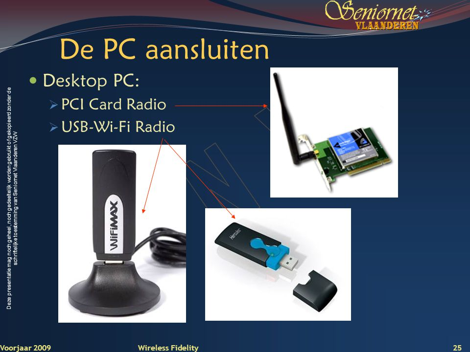 De PC aansluiten Desktop PC: PCI Card Radio USB-Wi-Fi Radio