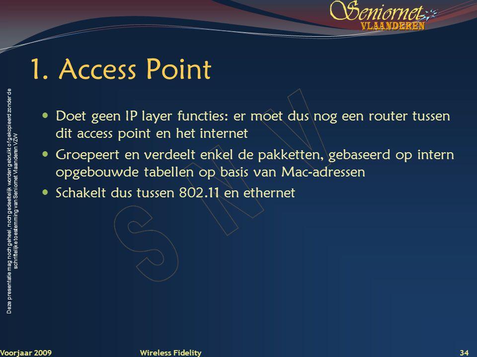 1. Access Point Doet geen IP layer functies: er moet dus nog een router tussen dit access point en het internet.