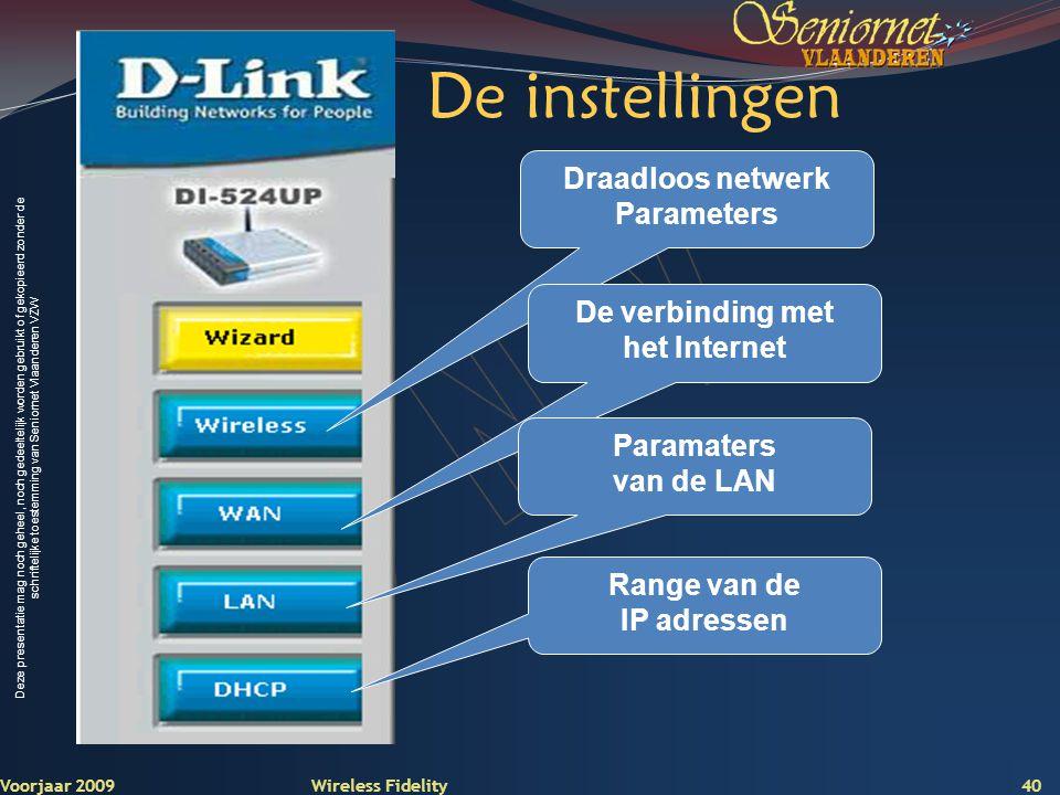De instellingen Draadloos netwerk Parameters