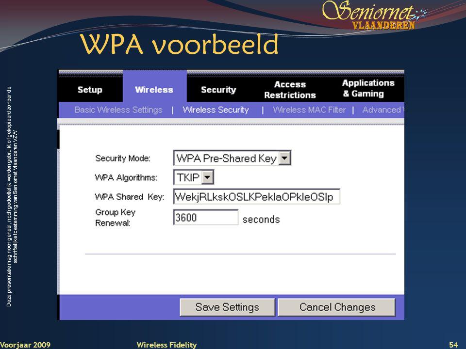 WPA voorbeeld Voorjaar 2009 Wireless Fidelity