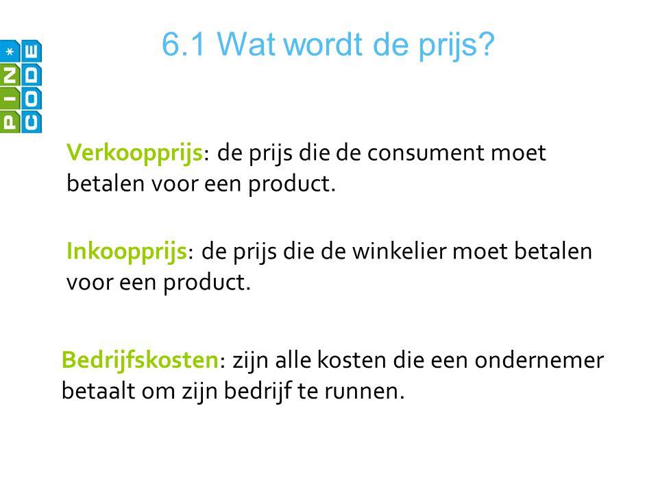 6.1 Wat wordt de prijs Verkoopprijs: de prijs die de consument moet betalen voor een product.