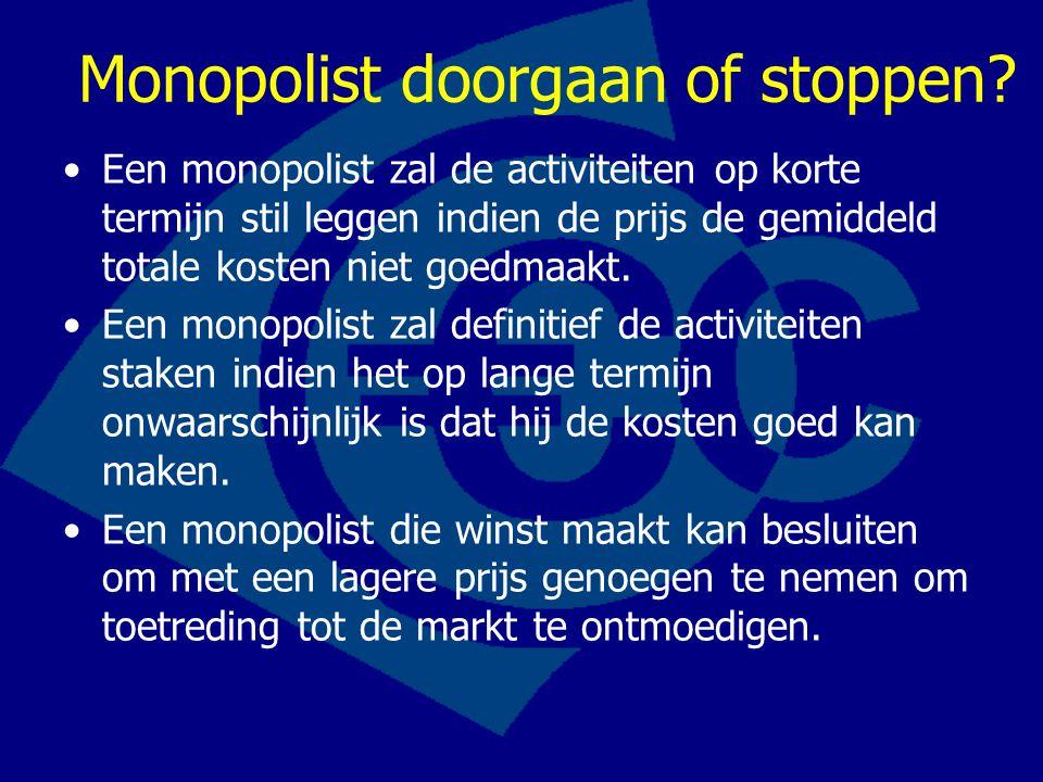 Monopolist doorgaan of stoppen